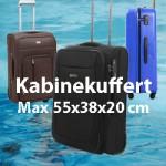 kabinekuffert max 55x38x20 cm
